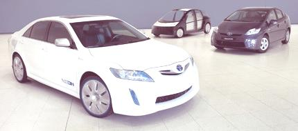 Toyota's HC-CV (Hybrid Camry Concept Vehicle), next generation Prius (left) and 1/X concept vehicle (rear)